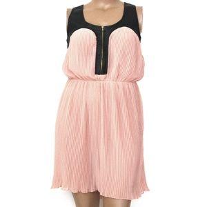 Pinky XL, Blush Pink Pleated Mini w/Faux Leather